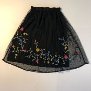 Zara Trafaluc Black Floral Sheer Skirt